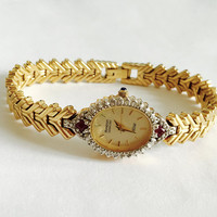 Vintage Womans Armitron Diamond Now Watch, Gold Toned Bracelet Watch with New Battery, Diamond Chips and Ruby Accent