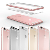 I6 6S 5.5 Luxury Transparent Acrylic + Inside Silicone + Out Aluminum Case For Iphone 6 6S Plus Hard Cover Ultra Slim Dual Layer