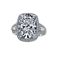 8 CT. Intensely Radiant Cushion Center Diamond Veneer Cubic Zirconia with Halo Setting Sterling Silver Ring with side Tapered Baguette. 635R71678