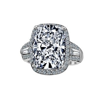 8 CT. Cushion Radiant Center Halo Setting Sterling Silver Ring W/side Tapered Baguette Simulated Diamond - Diamond Veneer 635R71678