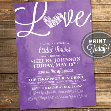 Watercolor Bridal Shower Invitation, Love, Art, Purple, Retro, Printable File (Custom Order, INSTANT PROOF)