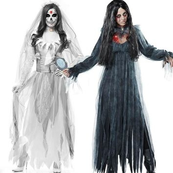 High Quality New Halloween Ghost Festival Goth Costume Women's Adult Dress White Gloves Zombie Play Costume Spooky Bride