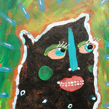 Art Brut Face Painting Weird Outsider Quirky Self Taught Naive Artist Goth Black Portrait Street Ugly Pop Monster Surreal Primitive Monster