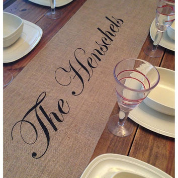 "Burlap Table Runner 12"", 14"" & 15"" wide with custom name and FINISHED edges"