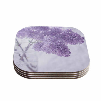 "Suzanne Harford ""Lilacs"" Purple Floral Coasters (Set of 4)"