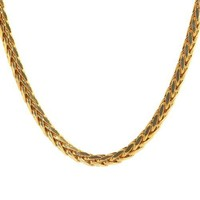 """Men's 14k Italy 4mm Yellow Gold Hallow Wheat Chain Necklace, 22"""""""