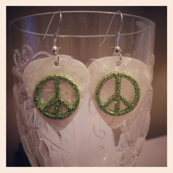 Guitar Pick Jewelry by Betsy's Jewelry - Earrings  - Peace Signs - 60s - Retro - Rocker - 80s Styles