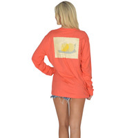 Southern Squeeze Long Sleeve Tee in Coral Red by Lauren James