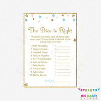 Gender Neutral Baby Shower, The Price is Right Baby Shower Game, Pink Blue Gold, Baby Shower Sign, Baby Price is Right, Printable, STPBG