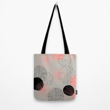 Petite modern coral Tote Bag by Vicky Theologidou