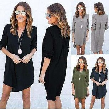 Womens Blouse Chiffon Long Sleeve Shirt Casual V Neck Loose Top Dress