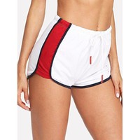 White  Dolphin Shorts With Red Stripes