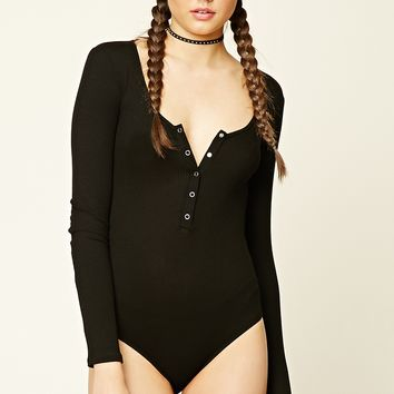 Ribbed Button-Front Bodysuit
