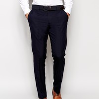 ASOS Slim Fit Smart Trousers In Navy