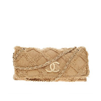 Chanel Fringe Trim Flap Bag Quilted Tweed Jumbo