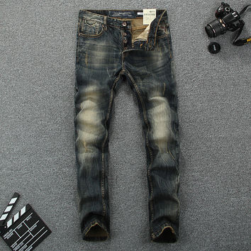 High Quality Fashion Men Jeans Retro Design Vintage Washed Skinny Jeans Men Pencil Pants Brand Clothing Slim Fit Stripe Jeans