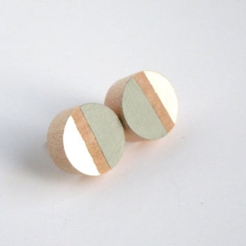 Gray and pearl post earrings, wood stud earrings, colorblock earrings, neutral jewelry