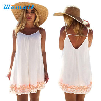 Womail vestido robe Women Backless Short Summer BOHO Evening Party Beach Mini Dress Sundress 17April 17