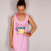 90s Capt'n Fun Run Oversize Tank Top, Pink 90s Pensacola Beach Shirt, 1991, Small Medium Large XL