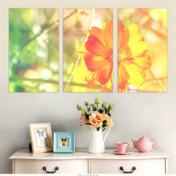 Small Yellow Flower Painting on Canvas Oil Painting Warm Landscape Picture Wall Picture Home Decoration Art Print No Frame 3 Pcs