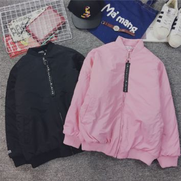 Ulzzang harajuku wind jacket female bf embroidery loose bat sleeve cotton lovers with baseball clothes wave men Pink