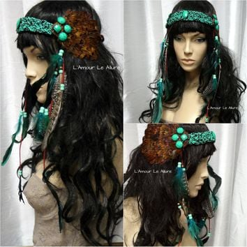 Brown Turquoise Indian Headdress Feather Native Crown Feather Headband Halloween Costume