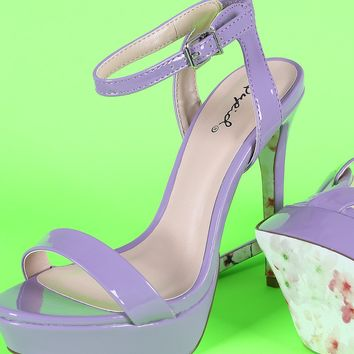 Qupid Patent Floral Outsole Ankle Strap Platform Heel