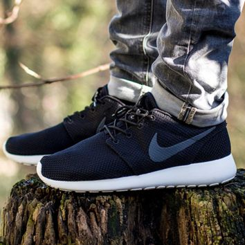 """NIKE"" roshe Trending Fashion Casual Sports A Simple yet Powerful Style Nike Shoes Black (grey hook white soles)"
