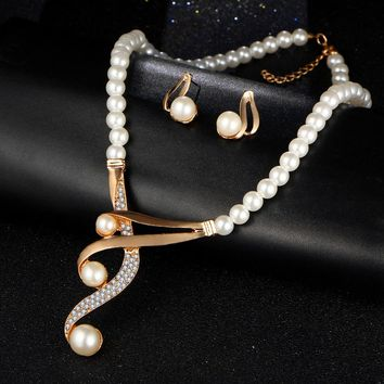 Set Jewelry Crystal and Beads Necklace & Earrings Simulated Pearl