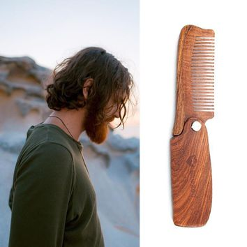 New! Folding Wood Comb  - Great For Hair, Beards, Mustaches. Anti Static. All Natural Sandalwood Scent