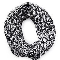FOREVER 21 Marled Knit Infinity Scarf Black/White One