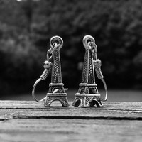 Silver Eiffel Tower Dangle Earrings