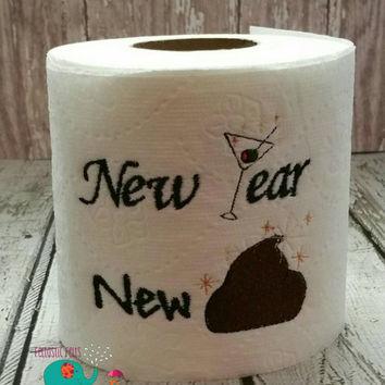 New Year embroidered toilet paper, gag gift, white elephant gift, bathroom decoration, home decor, bath, holiday, new years, humorous gift