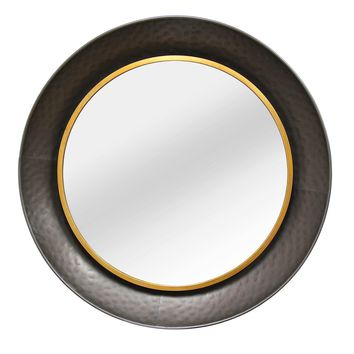 Salamanca Dark Grey and Gold Circular Metal Wall Mirror
