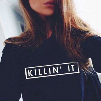 KILLIN IT Letter Print Fashion 2017 Autumn Hoodies Women Hoodies Sweatshirts Long Sleeve Black Casual Punk Style Polerones Mujer