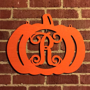 "Wooden Initial Pumpkin 20""  (Ships in 3-5 DAYS)"