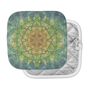 "Art Love Passion "" Celtic Golden Flower"" Green Yellow Geometric Pot Holder"