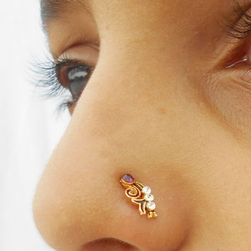 Traditional rajasthan Indian Nose Ring,Studs Jewellery,Philtrum/Medusa Piercing,Nose Screw,Nose Trill with small crystal gem stone,Nose Pin