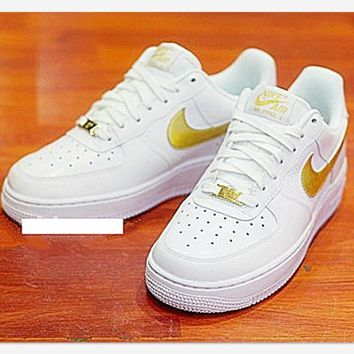 NIKE Women Men Running Sport Casual Shoes Sneakers Air force low help shoes White golden-1