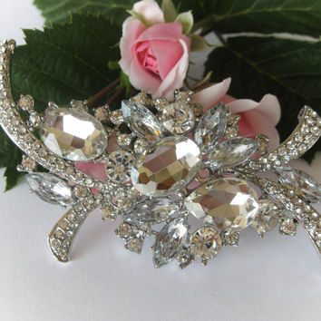 "Swarovski Crystal Bridal Brooch ""Icy Tears"", Wedding Brooches, Brooch Pin, Rhinestone Brooches, Vintage Brooches, Wedding Jewelry"