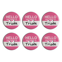 Trista Hello My Name Is Plastic Resin Button Set of 6