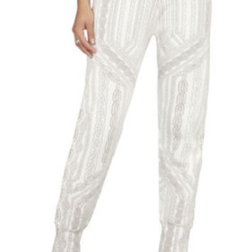 BCBG Cameron Cable-Knit Inspired Jacquard Sweatpant