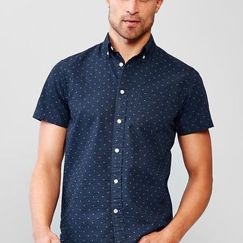Gap Men Seersucker Polka Dot Shirt