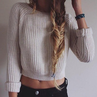 Long Sleeve Knitted Crop Sweatshirt