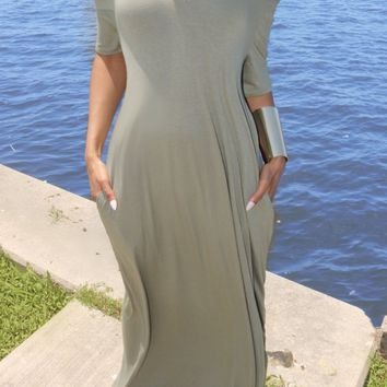 Essential Maxi Dress Olive