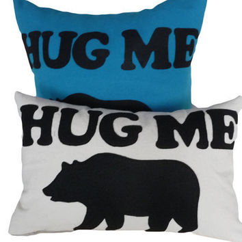 Bear Hugs Please  Text Pillow Talk 12x18 by PillowThrowDecor
