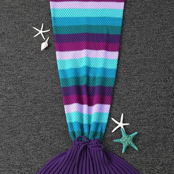 High Quality Knitted Stripe Pattern Mermaid Tail Blanket