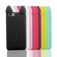3D cartoon Cat Ear Design Soft Back protective Cover for iPhone