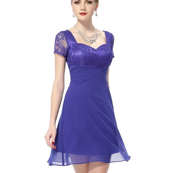 Elegant Blue U-Neck High-Waist Zipper Short Party Dress