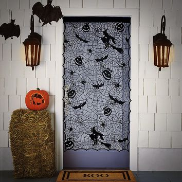 """Halloween Lace Window Door Curtain Witch Pumpkins Spiders Webs Bats Cloth Haunted House Decoration Black Translucent 42""""x84"""""""